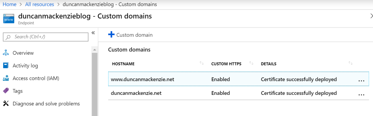 List of custom domains attached to my CDN endpoint in the Azure Portal