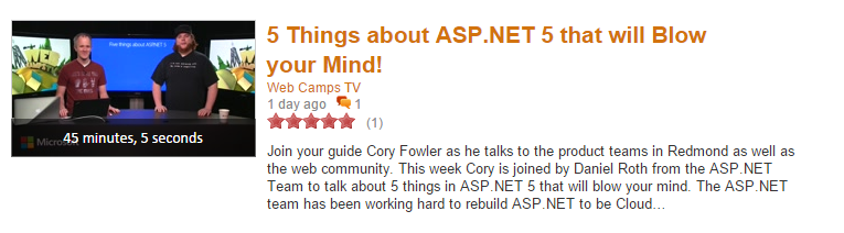 Clip of a Channel 9 video with a title of 5 Things About ASP.NET 5 that will blow your mind!